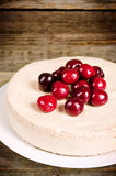 Chocolate-cherry cheesecake Stock Photography
