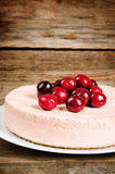 Chocolate-cherry cheesecake Stock Images