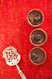 Chocolate Cherry Mini Tartlets in vintage spoon  with festive go Royalty Free Stock Photography