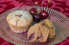 Chocolate and cherry muffins Stock Image