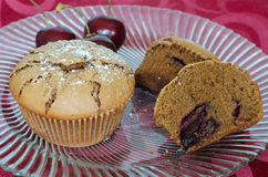 Chocolate and cherry muffins Royalty Free Stock Images