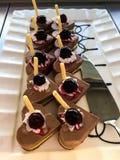 Chocolate cherry pies royalty free stock photos