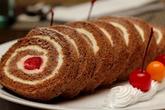 Chocolate cherry  roll Stock Image
