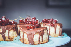 Chocolate and Cherry Top Cake Royalty Free Stock Photos