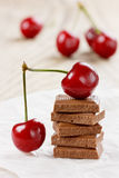 Chocolate and cherry Stock Photography