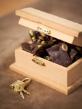 Chocolate in the chest with lock Royalty Free Stock Photo