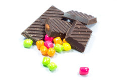 Chocolate with chewing gum Stock Photography