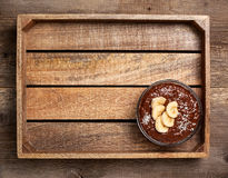 Chocolate  chia pudding with banana Royalty Free Stock Photos