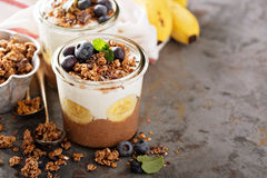 Chocolate chia pudding with banana slices royalty free stock images