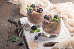 Chocolate chia pudding with banana Royalty Free Stock Images