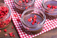 Chocolate chia puddings with dried strawberries Royalty Free Stock Photography
