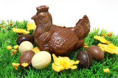 Chocolate chicken and easter eggs Stock Photo