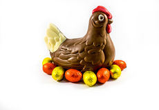 Chocolate chicken. Isolated on a white background Stock Photography
