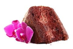 Chocolate chiffon cake Stock Images