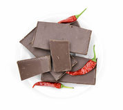 Chocolate with chili pepper Royalty Free Stock Photos