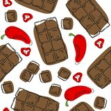 Chocolate with chili pepper isolated on white background. Seamless pattern. Vector illustration. vector illustration