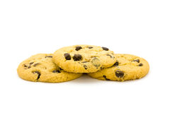 Chocolate chip. Cookies on a white surface Royalty Free Stock Photography