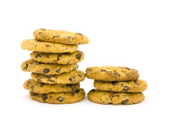 Chocolate chip. Cookies on a white surface Stock Images