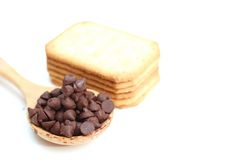 Chocolate chip and biscuit. Are  on white background Royalty Free Stock Images