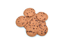 Chocolate chip biscuits isolated on white background Stock Image