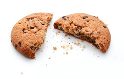 Chocolate chip bite cookies isolated Royalty Free Stock Photos