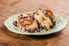 Chocolate chip bread pudding dessert Stock Image