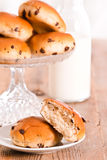 Chocolate chip brioche. Chocolate chip brioche bun on wooden table stock photos