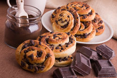 Chocolate chip brioche buns. Stock Photography