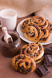 Chocolate chip brioche buns. Royalty Free Stock Images