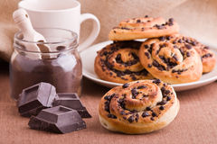 Chocolate chip brioche buns. Royalty Free Stock Image