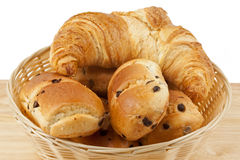 Chocolate chip brioche rolls with croissant in bas Stock Image