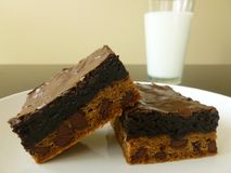 Chocolate Chip Brownie with Glass of Milk Royalty Free Stock Photo