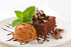 Chocolate Chip Brownie with ice cream Stock Photos