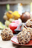 Chocolate Chip Carmel Apples Outdoors Royalty Free Stock Photos