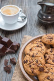 Chocolate chip coockies with coffee Royalty Free Stock Photo