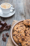 Chocolate chip coockies with coffee Royalty Free Stock Image