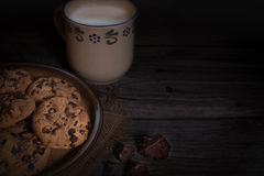 Chocolate chip coockies with milk, mystic Stock Photography