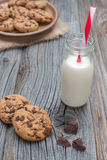 Chocolate chip coockies with milk Stock Photo