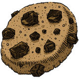 Chocolate Chip Cookie. A cartoon chocolate chip cookie vector illustration