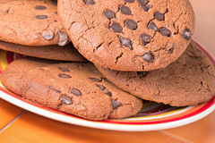 Chocolate chip cookie. Close up of some chocolate chip cookie on a plate Stock Image