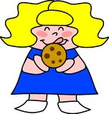 Chocolate Chip Cookie. Little girl licks her lips at the big chocolate chip cookie she's about to eat royalty free illustration