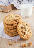 Chocolate chip cookie with almond and milk glass Stock Photo