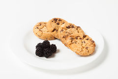 Chocolate chip cookie  and blackberry Stock Image