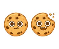 Chocolate chip cookie character. Cute cartoon chocolate chip cookie character with funny face. Cookie mascot vector illustration vector illustration