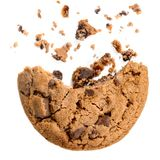 Chocolate chip cookie with crumbs isolated on white background stock photo