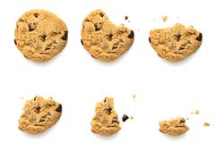Chocolate chip cookie evolution Royalty Free Stock Photos