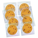 Chocolate chip cookie, Freshly baked Four cookies in transparent plastic package isolated on white background. Bright colors. Vect vector illustration