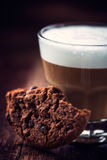 Chocolate chip cookie and a glass of cafe latte Stock Photography