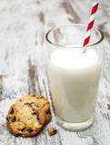 Chocolate chip cookie and glass of milk Royalty Free Stock Photo