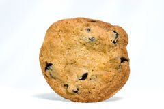 Chocolate Chip Cookie. Homemade chocolate chip cookie standing on end. White background. Horizontal Stock Photo
